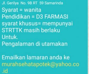 Loker Apotek Murah Sehat Samarinda